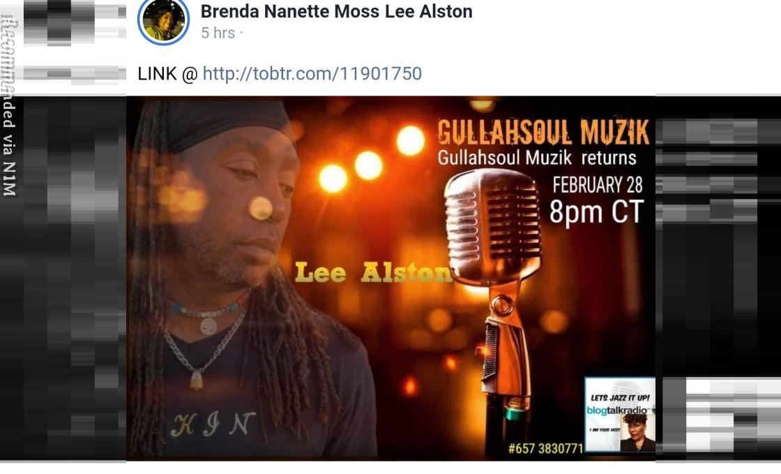 Lee Alston Gullahsoul Muzik live on air interview with radio host Brenda Moss 2/28/2021